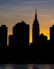 Empire State Building, NYC (ravi_pardesi) Tags: nyc sunset usa sun newyork silhouette skyline architecture contrast gold evening outdoor esb empirestate serene awesomeness