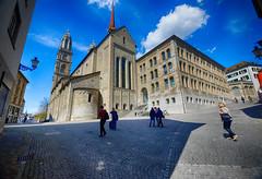 Stunning Zurich, Switzerland (` Toshio ') Tags: shadow church architecture clouds square switzerland europe european swiss zurich oldtown protestant toshio grossmunster xe2 fujixe2