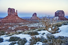 Buttes at dusk (Daniel Schwabe) Tags: travel sunset arizona usa snow rock desert dusk monumentvalley westmitten merrickbutte eastmitten