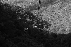 Miyajima ropeway (Elios.k) Tags: camera travel november light shadow vacation blackandwhite bw mountain travelling tower monochrome car japan horizontal canon outdoors photography climb asia view ride many side hill perspective buddhism cable line miyajima transportation cablecar sanyo shinto ropeway itsukushima misen hiroshimaprefecture 2015 shingon itsukushimaisland holymountain mtmisen misensan chugoku chūgoku 5dmkii sanyō