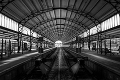 End point (miguel_lorente) Tags: street old city blackandwhite bw white black holland haarlem station train railway structure simetry
