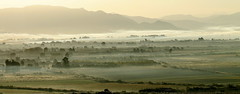Landscape in the mist (maria xenou - photodromos) Tags: morning panorama landscape felder berge greece mistymorning passionweek   nebellandschaft    weekbeforeeaster
