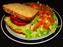 Homemade Bison & Pork Farmers Sausage Sandwich (ezigarlick) Tags: food tomato dill bread sausage sandwich pork lettuce homemade garlic onion homecooking parsley bison mennonite smoked wholegrain farmerssausage