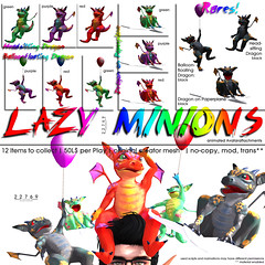 22769 Lazy Minions for The Gacha Garden (manuel ormidale) Tags: red black colorful dragon purple ballon attachment lazy rocket animated bauwerk gree paperplane minion gacha 22769 slmesh pacopooley 22769~bauwerk meshdecoration originalcreatormesh thegachagarden gachagame animatedattachment lazyminion