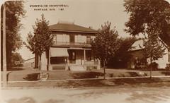 Portage Hospital, B&W Postcard