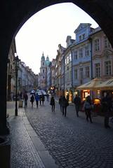 Walking into Mala Strana, Prague (Rosebud_03) Tags: city night evening arch czech prague cobblestones mala strana