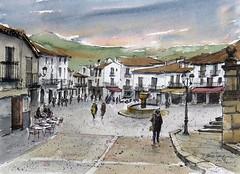 Plaza de Guadalupe (P.Barahona) Tags: fuente urbano pluma acuarela guadalupe cáceres tinta