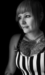 Looking through the Window (Lisa die Groe) Tags: portrait blackandwhite window tattoo fenster indoor skinhead schwarzweis skingirl