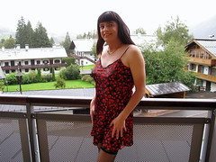Indoor day (Paula Satijn) Tags: red black sexy girl rain hearts outside austria shiny dress balcony silk tgirl satin gurl nightdress chemise nightie