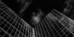 Almost all right | 32/366 (emrold) Tags: bw black glass architecture clouds reflections ottawa lookingup edition perpendicular 2016 agfascala200 skyabove vsco week5theme lensblr photographersontumblr fujifilmx100s vscofilm04 2016ericdelorme|emrold 1feb163662016day 32366366 1feb16
