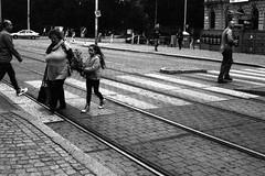 Canon EOS 30 with Canon EF 50mm f/1,8 II - People on Crosswalk (Kojotisko) Tags: bw canoneos30 streetphotography brno creativecommons czechrepublic streetphoto ilforddelta3200 canonef50mmf18ii microphen