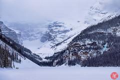 Little people (Kasia Sokulska (KasiaBasic)) Tags: winter lake snow canada mountains clouds landscape rockies frozen alberta lakelouise banffnationalpark