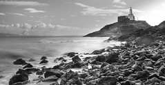 Mumbles Lighthouse (Joseph Mac'Q) Tags: longexposure winter sea blackandwhite bw lighthouse cold beach weather swansea mumbles