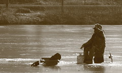 Guy Fishin' at Blackwell. 1 (EOS) (Mega-Magpie) Tags: people usa man guy ice nature sepia america forest canon outdoors person eos illinois fishing drink outdoor dupage dude il preserve blackwell warrenville 60d