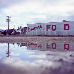 (patrickjoust) Tags: california county ca sky food usa color reflection abandoned 120 6x6 tlr film water clouds analog rural america lens puddle mono us store reflex focus fuji mechanical empty united country north patrick twin slide chrome vacant medium format states manual grocery bridgeport northern expired sierranevada joust e6 fod discontinued busters estados defunct reversal unidos fujichromeastia100f autaut patrickjoust lipcarollopautomatic28