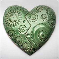 Clockwork Envy (Rodrick Dale) Tags: toronto ontario canada green broken ceramic heart glaze envy clockworks gears