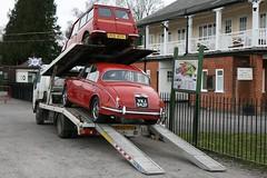 unloading the Jag (davocano) Tags: mini jaguar brooklands carauction historicsatbrooklands ke03ypu pcd167x vwj942f