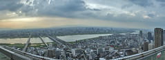 6-photo photomerge of Northen Osaka (acase1968) Tags: sunset sky panorama building river nikon cloudy  nikkor storms umeda between partly yodo f4g d600  24120mm