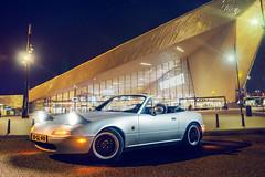 Mazda MX-5 (domantasm.) Tags: city urban holland car night silver drive rotterdam mazda panning mx5 roadster eunos strobist