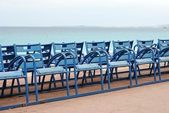 Chaise bleue six (zawtowers) Tags: blue vacation holiday france french 50mm nice riviera break angle chairs symbol cte des promenade iconic chaise bleue fifty dazur angais nikonafsnikkor50mmf18g