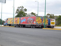 Whole lotta sugar (stevenbrandist) Tags: road travel truck mexico driving trucks colourful travelogue truc doubletrailer