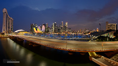 Marina Bay (syphrix photography) Tags: bridge blue sunset panorama art skyline museum marina canon bay singapore long exposure angle dusk district wide science hour helix sands financial 6d 2016 syphrix