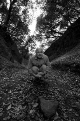 it's only a matter of folding time and space (Super G) Tags: trees blackandwhite bw selfportrait abandoned forest spc crevice perpective