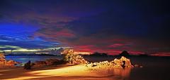 Sunset in Krabi, Southern Thailand (Mr.CPH) Tags: pink blue sunset sea seascape beach colors zeiss landscape thailand island islands bay photo rocks asia long exposure colours sony resort sample ritz ritzcarlton seashore krabi nex phulay nex5r 1670z