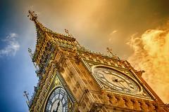 Burning Ben (ludderz) Tags: blue light sky orange sun colour london tower clock westminster architecture big elizabeth natural ben bracket hdr