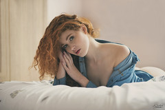DSC_8350 (edited 2) (tagged) (AJ Charlton Photography) Tags: uk light red aj heidi photography bed model bedroom nikon natural head 85mm redhead d750 april boudoir tease teasing ajc charlton 2016 implied romanova
