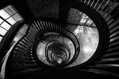 Dark City / Follow the line (zgr Grgey) Tags: bw lines architecture spiral nikon hamburg staircase d750 railing darkcity 2016 14mm kontorhausviertel samyang messberghof