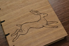 DSC_4303 (scattering_poems) Tags: wood nature animal paper notebook book sketch hare walnut running binding coptic woodburning pyrography