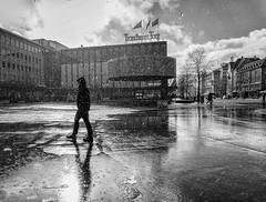 rain and sunshine (krøllx) Tags: street city light people blackandwhite bw monochrome weather norway norge europa europe streetphotography streetphoto scandinavia trondheim sh sørtrøndelag torget skandinavia trøndelag nikc reain menneske midtnorge dsc05153edit201604211