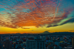 Mt.Fuji from Yokohama (koshichiba) Tags: city urban tower japan night landscape marine cityscape observatory  yokohama    mtfuji suset orenge