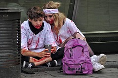 Strasbourg Zombies (AntyDiluvian) Tags: trip woman man paris france guy girl train couple zombie strasbourg wait cosplayer fakeblood layover 2015 zombiewalk