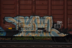 FOWL (TheGraffitiHunters) Tags: street blue white black art car yellow train graffiti colorful paint box tracks spray boxcar fowl freight benched benching
