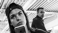 * (Timos L) Tags: street leica portrait girl look mobile person airport eyes candid cellphone olympus panasonic departures summilux iphone m43 2514 em5ii timosl