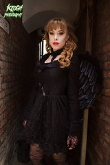 IMG_9414 (Neil Keogh Photography) Tags: red brown black female angel wings dress top gothic goth victorian tights choker whitbygothweekend april2016