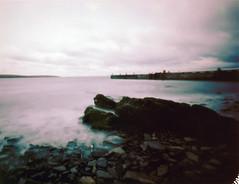 lamb holm pier  edit (ingrid_b21) Tags: longexposure sea film water landscape orkney pinhole instant zeroimage waitingfortherain orkneyislands fp100c