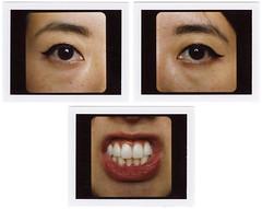 Dee Triptych 01 (yospyn) Tags: portrait closeup mediumformat mouth eyes teeth lips instantfilm mamiyarz67proii fujifp100c polaroidcollage
