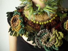 knitted and crocheted statement scarflette in green, brown, cream, gray, burgundy, camel and yellow colors with floral decorations by irregularexpressions (irregular expressions) Tags: black yellow scarf beige knitting burgundy crochet gray cream knit yarn button wearableart accessories knitted fiberart fiber boho bohemian peagreen mahogany taupe textileart olivegreen neckwarmer seagreen mustardyellow neckpiece neckwear forestgreen noveltyyarn woolyarn freeformcrochet chocolatebrown kellygreen scarflette ferngreen freeformknitting pinegreen acrylicyarn cardinalred mohairyarn irregularexpressions camelbrown sandbrown acrylicfiber crochetscarflette chartreuseyellow knittedscarflette statementscarflette