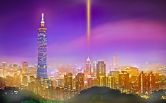 Taipei 101 Xiangshan Night | 101 (Fu-yi) Tags: park city travel light sky panorama house mountain plant building tree classic tourism lamp horizontal bulb landscape outdoors lights asia cityscape famous wide taiwan landmarks grand nopeople east 101 observatory romantic serene nightview   majestic  luminous xiangshan  tranquil radiant magnificent imposing   splendid  hikingtrail   grandiose   highquality formosan