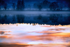 Evening walk (Geolilli) Tags: winter sunset cold fog canon landscape bavaria ducks lakescape 18135mm