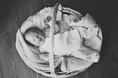 Arthur (lance mills) Tags: wood family blackandwhite baby black love matt happy basket joy son faded newborn matted