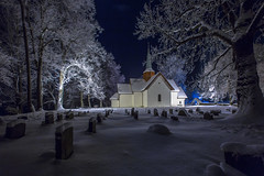 Haslum Kirke. Brum (cpphotofinish) Tags: blue winter light sky snow cold color colour fall church water weather oslo norway fog night clouds canon landscape outside eos norge photo foto image cloudy outdoor panoramic norwegian nordic dslr akershus bluelight haslum landskap bilde farger mk3 brum canonef ef14mmf28lusm carstenpedersen mklll eos5dmk3 cpphotofinish annoyear1190