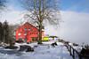 2016 Switzerland-115 (michellezxia) Tags: morning travelling switzerland scenery europe swiss foggy redhouse ontheroad travelphotography landscapephotography inthemountain inthefog topofthemountain