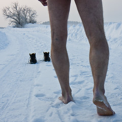 En andra chans (Anders Österberg) Tags: blue snow cold tree feet naked boots footprints freezing heel conceptual sole longing snowbank