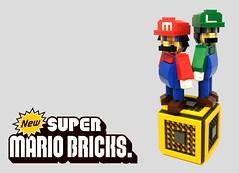 Brothers in brick (2 Much Caffeine) Tags: lego mario luigi moc supermariobros mangascale