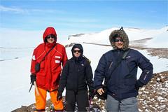 Am Ende der sehr erfolgreichen GANOVEX XI-Expedition (v.l.) Ernst Hauber, Nicole Schmitz und Jean-Pierre de Vera