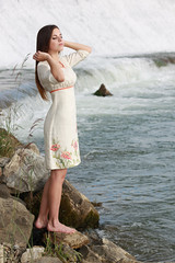Waterfall Girl (Pavlo Kuzyk) Tags: water girl canon river waterfall pretty dress ukraine embroidered